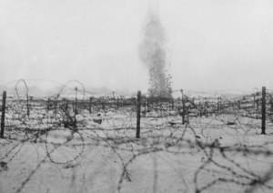 A shell explodes at Beaumont Hamel, July 1, 1916. Source:  http://www.therooms.ca/regiment/part2_the_battle_of_the_somme_part1.asp
